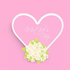 文本的母亲节和花的粉红色的心