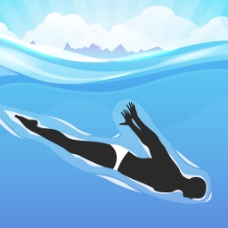 年轻的女孩做出色的花样游泳池内的水背景摘要射线设计