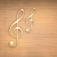 金色的音符在木制的背景—
