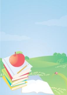 矢量插画桌面上 苹果和铅笔堆书学校