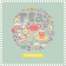 制成的甜食圆的形状制成的糖果圆矢量插图