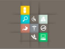 摘要世界卫生日的概念与医疗图标的棕色背景