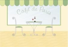 一个巴黎街头咖啡矢量图像