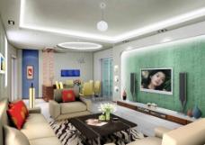 绿色装修背景墙室