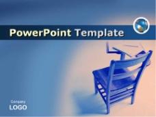 蓝色课桌背景教育PPT模板