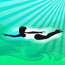 年轻的女孩做出色的花样游泳池内的水背景波
