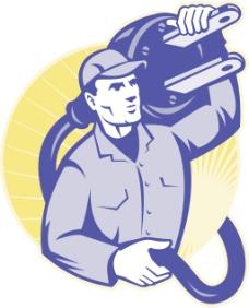 电工人员抓住一个电源插头