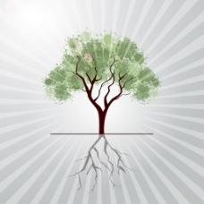 一种灰色射线背景的影响illutration邋遢的树