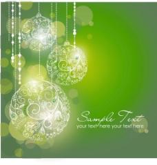 圣诞饰品绿色圣诞背景
