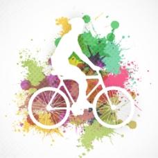 小轮车自行车上表演特技丰富多彩的蹩脚的背景