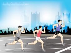长跑短跑赛道比赛插画矢量背景