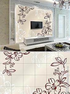 陶瓷海棠背景 电视墙 背景墙