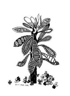 画这样的黑白装饰画需要哪些工具?纯手绘的,排除软件图片