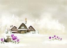 卡通雪景背景图片