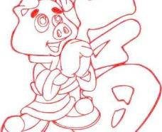 福猪线稿矢量图