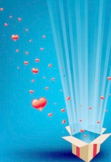 纸箱释放光芒四射心形矢量图