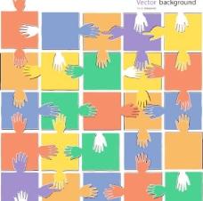 手势拼图背景矢量素材2