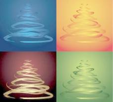 四色圣诞树矢量素材