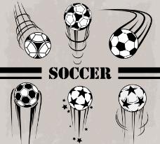6款卡通动感足球设计矢量素材