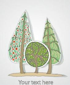 精美松树标签背景矢量素材1