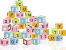 在白色背景上的字母和数字积木