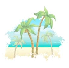 棕榈树矢量夏季插图