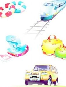 韩国火车、汽车、包、鞋等旅行图标矢量图126