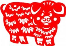 矢量猪剪纸图片02