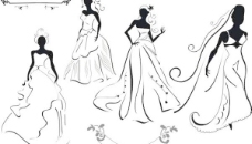 婚紗新娘剪影矢量素材1
