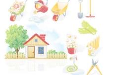 庭院元素矢量素材
