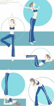 韩国运动健身美女矢量图010