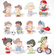 卡通兒童形象矢量素材4