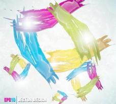 彩色墨迹飞溅背景矢量素材2