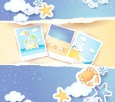 夏日海滩背景矢量素材2