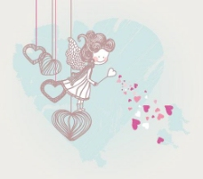 可爱情人节插画矢量素材1