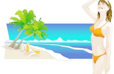 韩国沙滩美女AI矢量图214