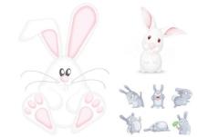搞笑卡通兔子矢量素材