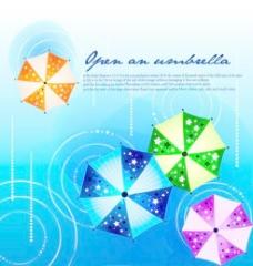 潮流雨伞背景矢量素材