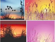 日落夕阳风景矢量素材