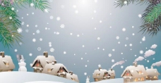圣诞夜晚雪景矢量素材