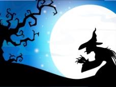 可怕的月圆之夜下死树和万圣节的背景