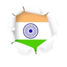 创作风格的印度国旗矢量设计矢量图eps10撕纸的影响