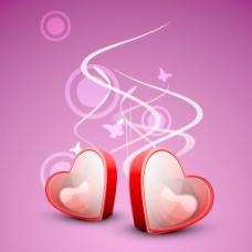 红色恋人的心在箱子上美丽的粉红色的创作背景的爱情观