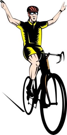 骑车人骑自行车闪烁着胜利的手势
