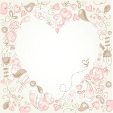可爱的花的背景与心脏结构