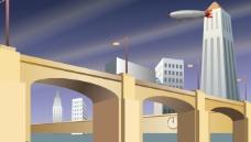 城市交通场景flash矢量素材
