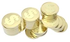 金币堆孤立在白色的背景