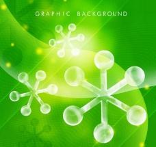 绿色水晶雪花PSD背景