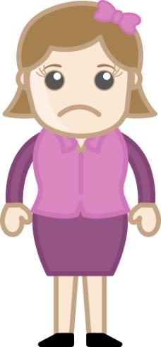 悲伤的女人-商业卡通人物矢量图