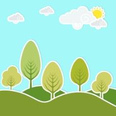 摘要自然背景与绿色的树和云